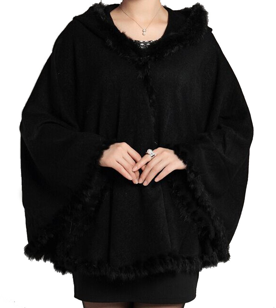 Helan Women's Rabbit Fur Knitting Fashion Cape Coat with Hat Black