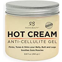 Radha Beauty Hot Cream - 100% Natural Cellulite Treatment, Toning & Slimming Gel to Burn Belly Fat for Men and Women…