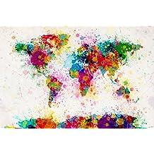 """World Map Paint Drop Poster Michael Tompsett Weltkarte (36""""x24"""")"""