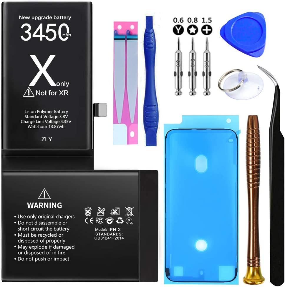 Battery for iPhone X, Upgraded 3450mAh New 0 Cycle Higher Capacity Battery Replacement for iPhone X with Complete Professional Repair Tools Kits - 12 Months Service