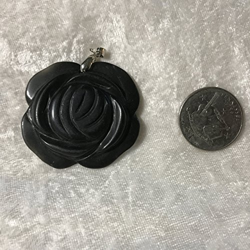 Carved Black Onyx Pendant (Natural Black Onyx Gemstone Carved Rose Flower Pendant)