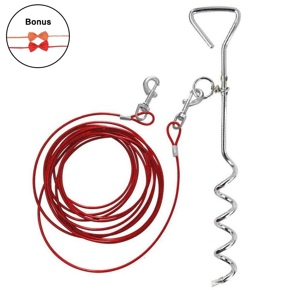 Lylyzoo Dog Tie Out Cable 16ft and Spiral Stake, with Anti-Winding Metal Ring and 2 Clasps, for Yard, Camping and Outdoors, Bowknot Tie as Gift, Small to Medium Pets Up to 40lb by Lylyzoo
