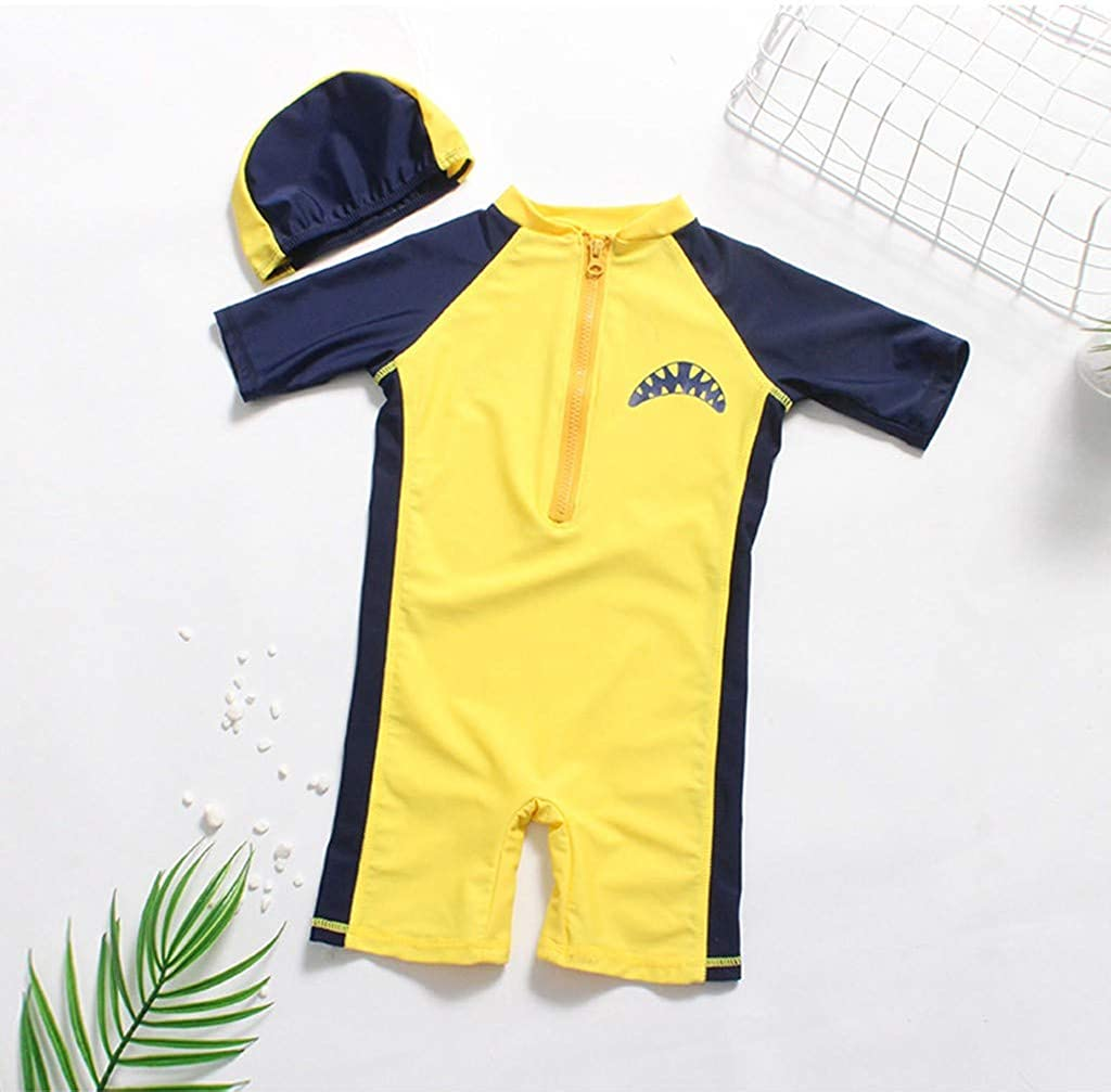 SUUGEN 2Pcs Toddler Baby Girl Boy Sunscreen Swimwear 3D Cartoon Romper Swimsuit with Hat