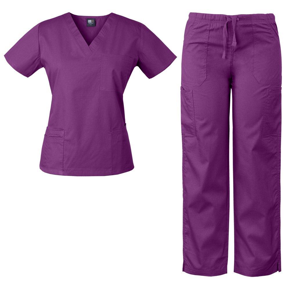 Medgear Womens Scrubs Set 4 Pocket V Neck Top and Multiple Pocket Drawstring Cargo Pant (X -Small, Violet Rose)