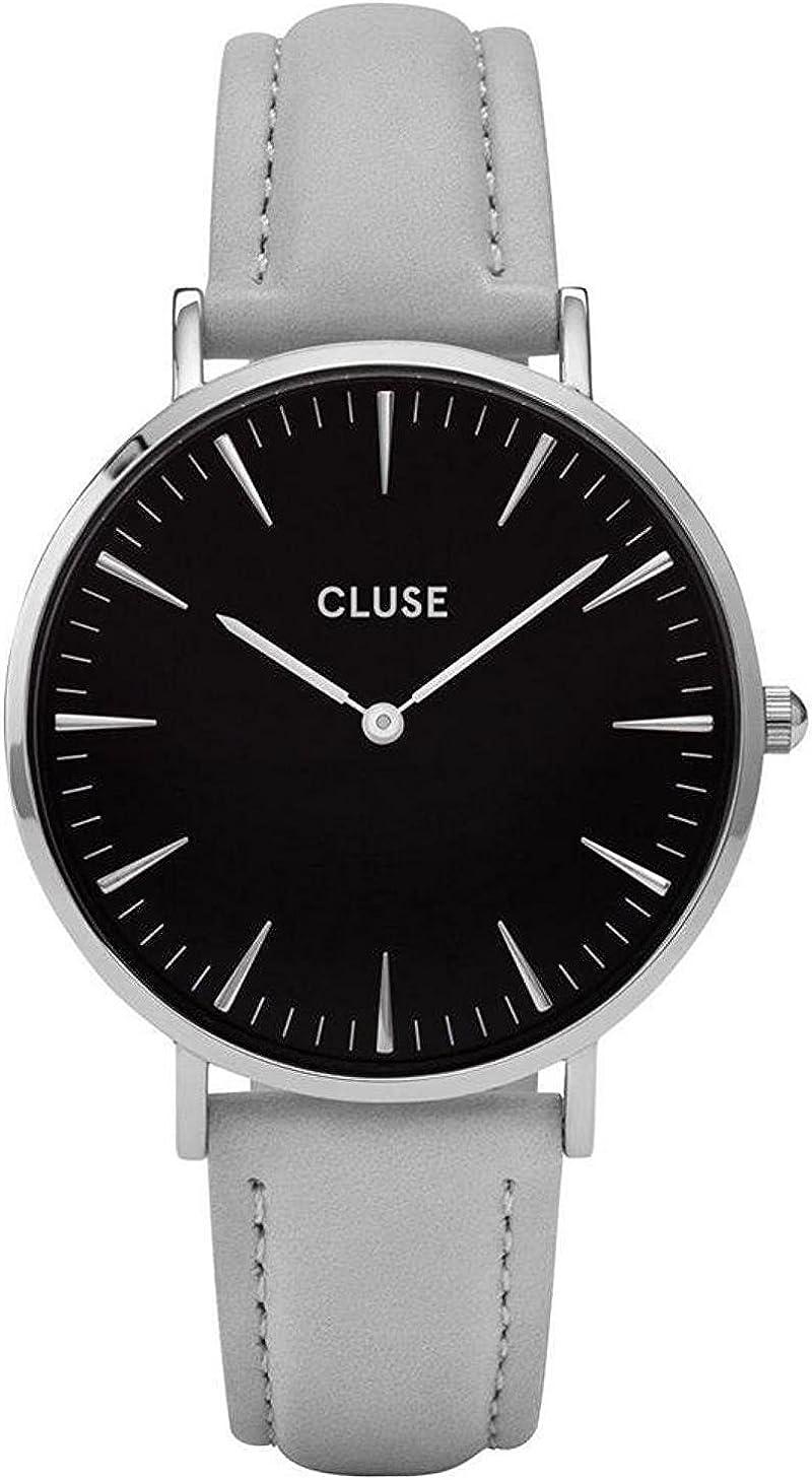 Cluse Women s La Boheme 38mm Grey Leather Band Metal Case Quartz Black Dial Analog Watch CL18218