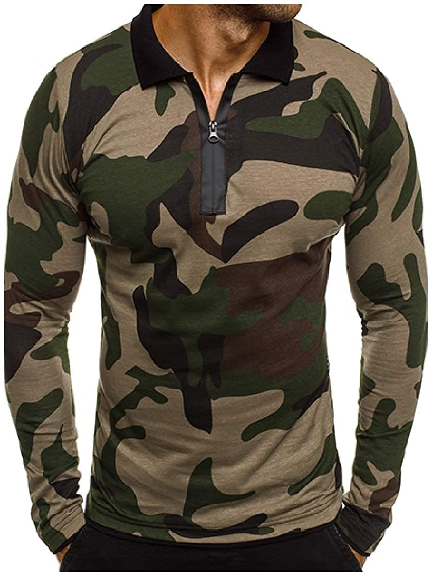 Coolred-Men Camo Long-Sleeve Muscle Printing Turn Down Collar Polo Shirt