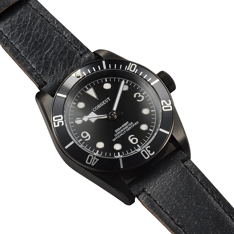 41 MM corgeut Automatische Bewegung Herren-Armbanduhr Saphirglas schwarz Zifferblatt
