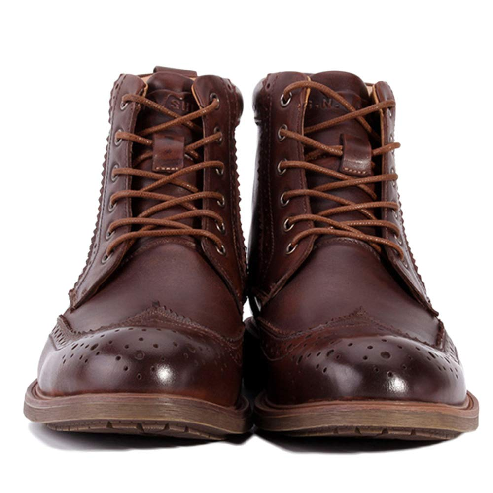 Martin Stiefel Herren Klassische Adult Boots Klassische Stiefel Klassische Herren Leder Brogue Herrenschuhe Lederschuhe Beiläufige Hohe Schuhe Brown 7157b6