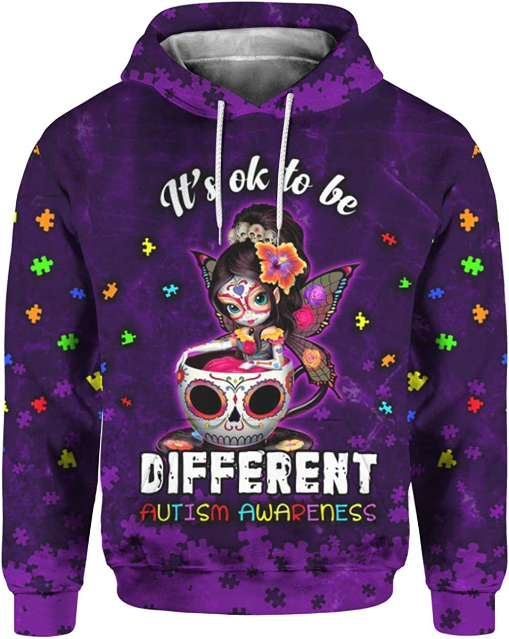 Sugar Skull Fairy It/'s Ok to Be Different Autism Awareness 3D All Over Sublimation Printing Shirt
