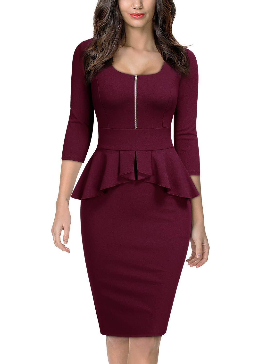 Miusol Women's Retro Square Neck Ruffle Style Slim Business Pencil Dress