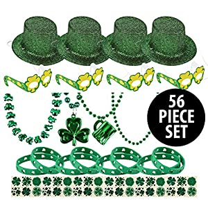 56 Piece St. Patrick's Day Party Supplies | Set includes: (4) Mini Hats (4) Assorted Green Necklaces (4) Paper Shamrock Glasses (8) Lucky Bracelets (36) Shamrock Temporary Tattoos
