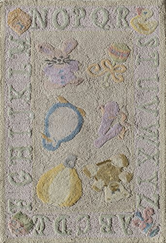 - Momeni Rugs LMOINLMI-2SOP2030 Lil' Mo Classic Collection, Kids Themed 100% Cotton Hand Hooked Area Rug, 2' x 3', Soft Pink