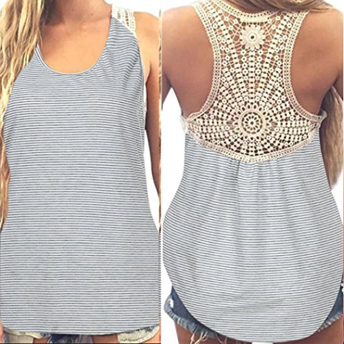 Kstare Women's Casual Lace Yoga Tank Sleeveless Off Shoulder Workout T Shirt Backless Crop Tops (Light Gray, XL) ()