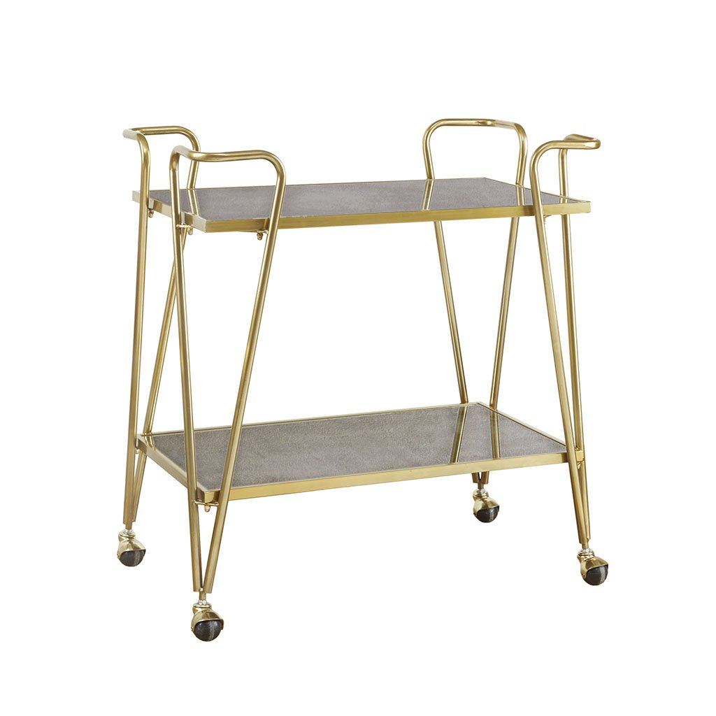 Madison Park Elon Bar Cart - Metal Base, Antiqued Mirror Serving Shelf on Wheels Modern Classic Wine Stand with Casters, Gold by Madison Park