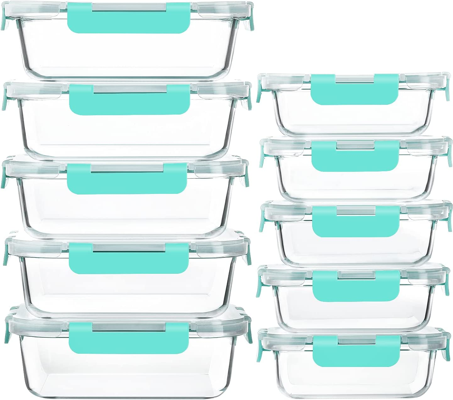 [10-Pack]Glass Meal Prep Containers with Lids-MCIRCO Glass Food Storage Containers with Lifetime Lasting Snap Locking Lids, Airtight Lunch Containers, Microwave, Oven, Freezer and Dishwasher, Green