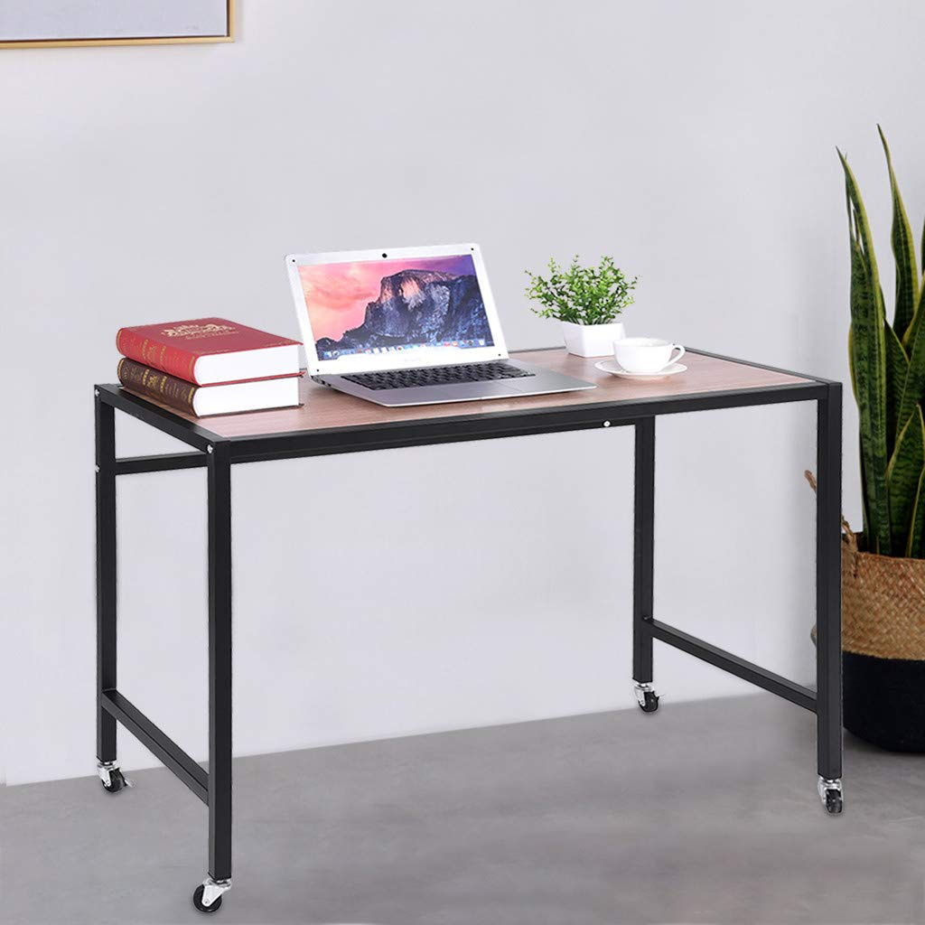 Fiudx Computer Desk Writing Desk Simple Desk End Table Study Desk Game Table Home Office Desk Wheels Rolling Writing Table by Fiudx