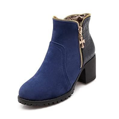 Women's Solid Blend Materials Kitten Heels Round Closed Toe Zipper Boots Blue 36