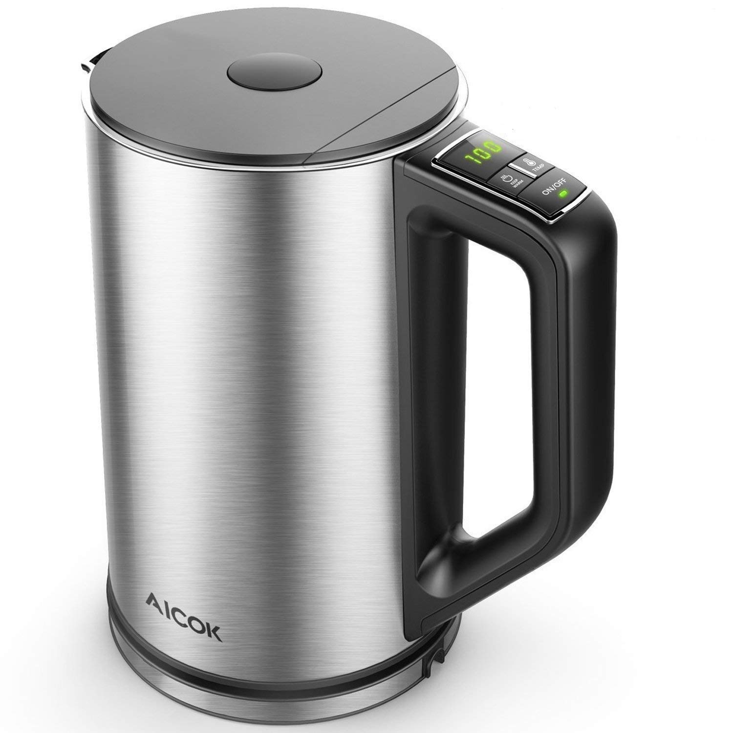 Electric Kettle, Aicok Temperature Control Kettle, Double Wall Cool Touch Water Kettle, Stainless Steel Kettle with LED Display Water Boiler from 90℉-212℉, Fast Boiling for Tea, Coffee, 1500W, 1.5L