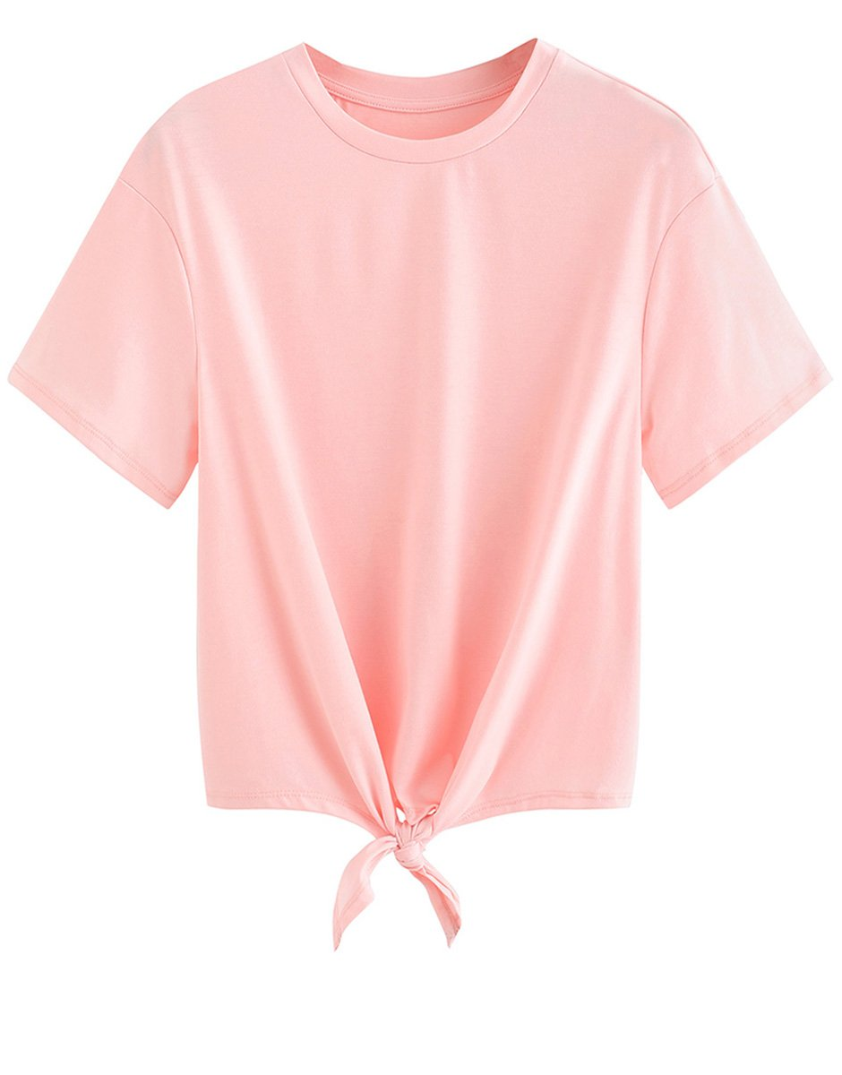 ویکالا · خرید  اصل اورجینال · خرید از آمازون · Romwe Women's Short Sleeve Tie Front Knot Casual Loose Fit Tee T-Shirt Pink XL wekala · ویکالا