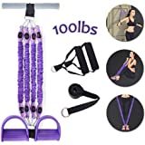 Sunsign Multifunction 4-Tube Foot Pedal Elastic Pull Rope Stackable Resistance Band Kit with Fabric Covered for Exercise, Heavy Stregth Workouts Fitness Physical Therapy