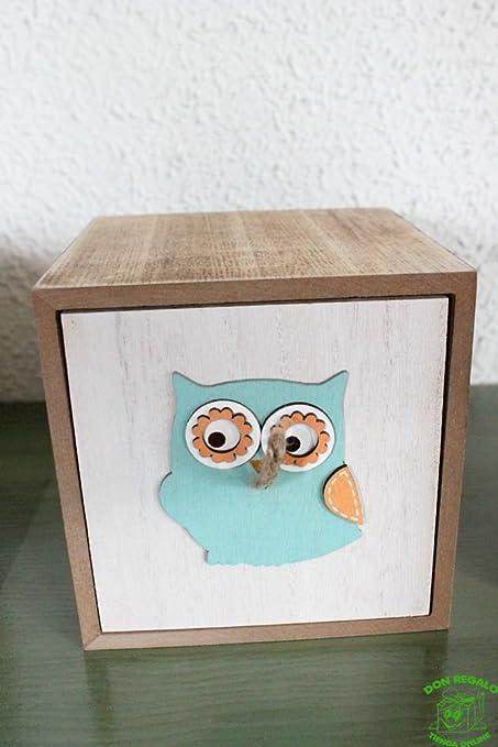 DONREGALOWEB Caja de Madera Decorada con un búho. Medidas: 12x12x12 cm: Amazon.es: Hogar