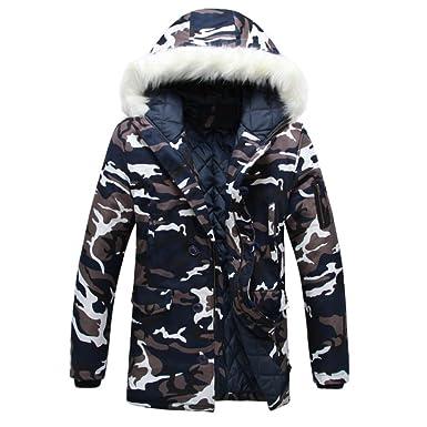 KEERADS Herren Camouflage Jacke Parka übergangsjacke Winterjacke Wintermantel Winter Parka Sweatjacke Wärmejacke Lange Jacke Sportjacke Daunenjacke