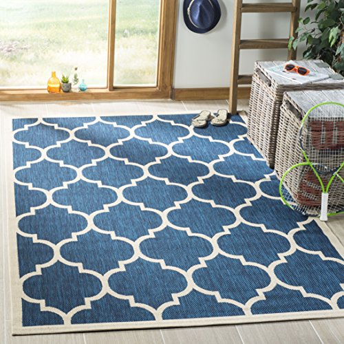 Safavieh Courtyard Collection CY6914-268 Navy and Beige Indoor/ Outdoor Square Area Rug (7'10