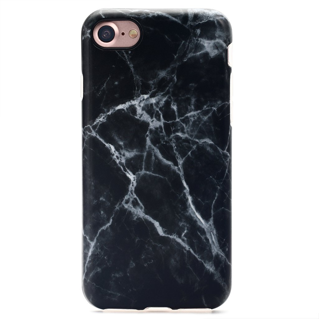 Nasousa iPhone 7 for Girls,Cute 7case,IMD Printing Slim-Fit Ultra-Thin Anti-Scratch Shock Proof Dust Proof Anti-Finger Print TPU Case for iPhone 7 (4.7 inch)(Black Marble)