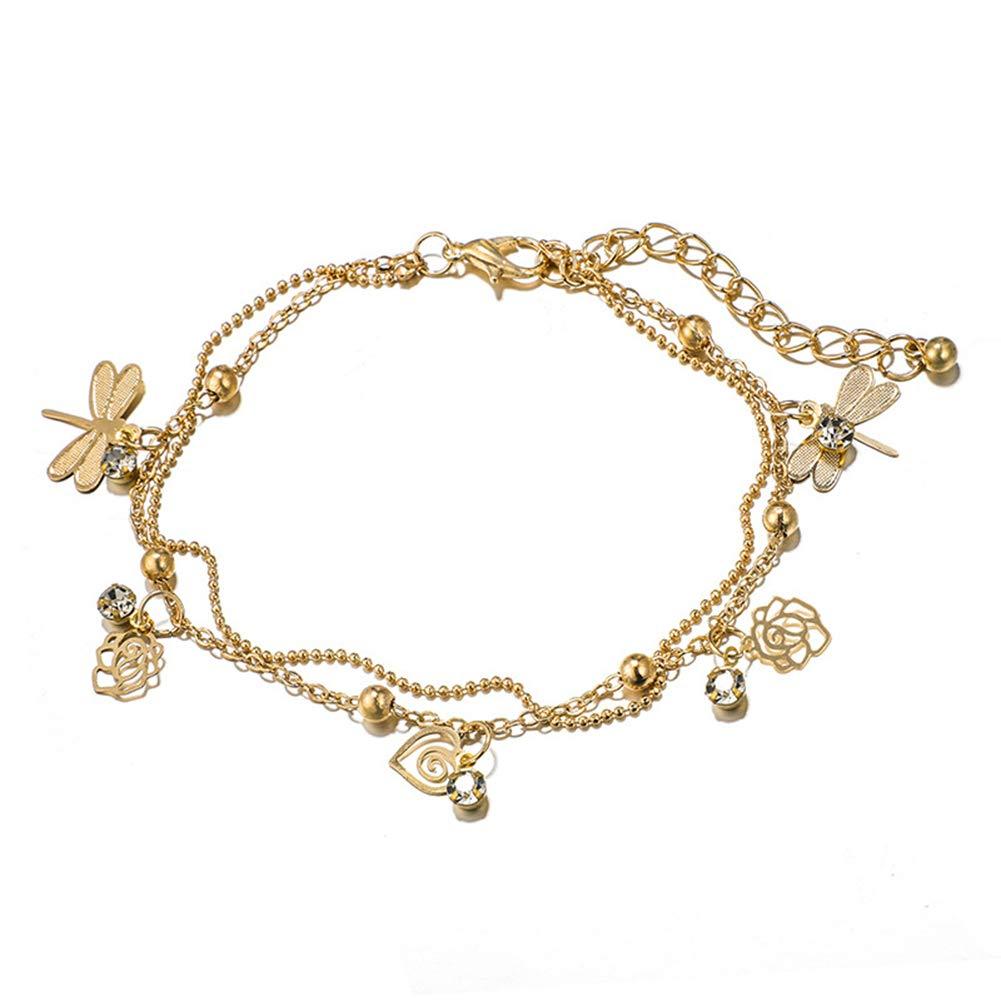 Women Hollow Dragonfly Rhinestone Wrist Bracelet Anklet Chains Jewelry Gift