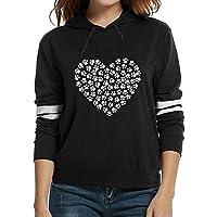 2018 New HOT ! Viahwyt Women Heart Print Long Sleeve Hoodies Sweatshirt Girls Casual Hooded Pullover Colour Block Hoody Tops Jumper Sweaters