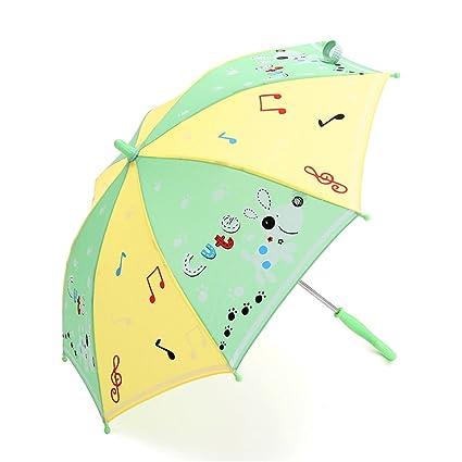 Paraguas De Los Niños De Moda Amarillo Perrito Verde Patrón Durable De Seguridad Ligero A Prueba