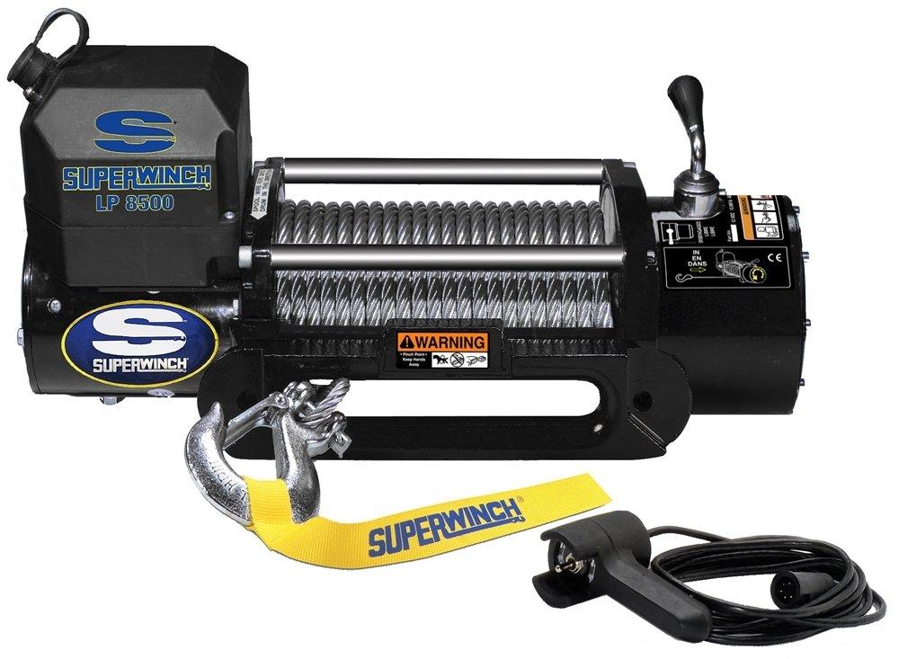 Superwinch 1585202 LP8500 Winch Gen II 12 VDC 8500lbs//3856kg steel hawse handheld remote