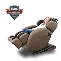 9. Kahuna Massage Chair Space-Saving Zero-Gravity Full-Body Recliner LM6800 with yoga & heating therapy (Brown)