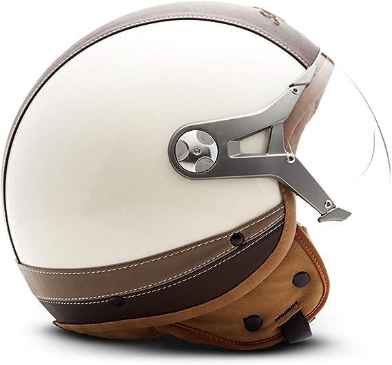 Soxon Sp 325 Urban Creme Jet Helm Motorrad Helm Roller Helm Scooter Helm Moped Mofa Helm Chopper Retro Vespa Vintage Ece 22 05 Visier Leather Design Schnellverschluss Tasche Xs 53 54cm Auto
