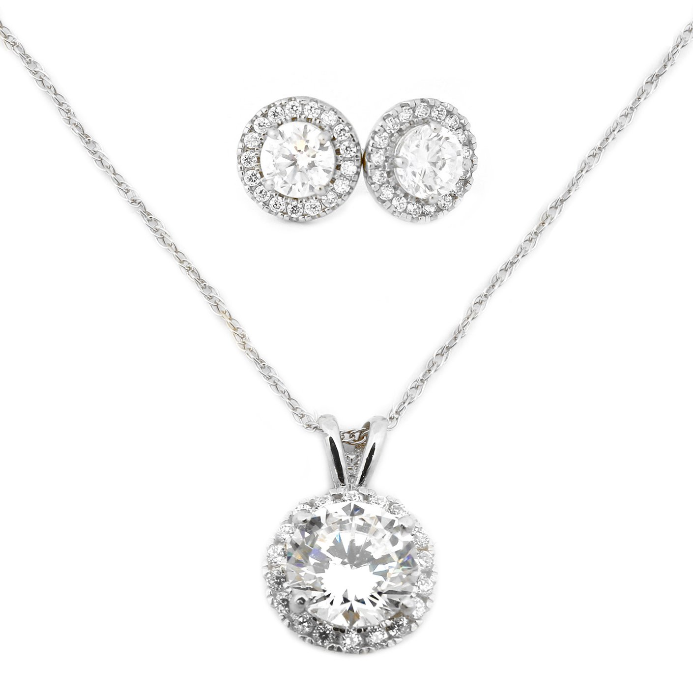 14k White Gold Cubic Zirconia Halo Necklace and Earrings Set - 18''