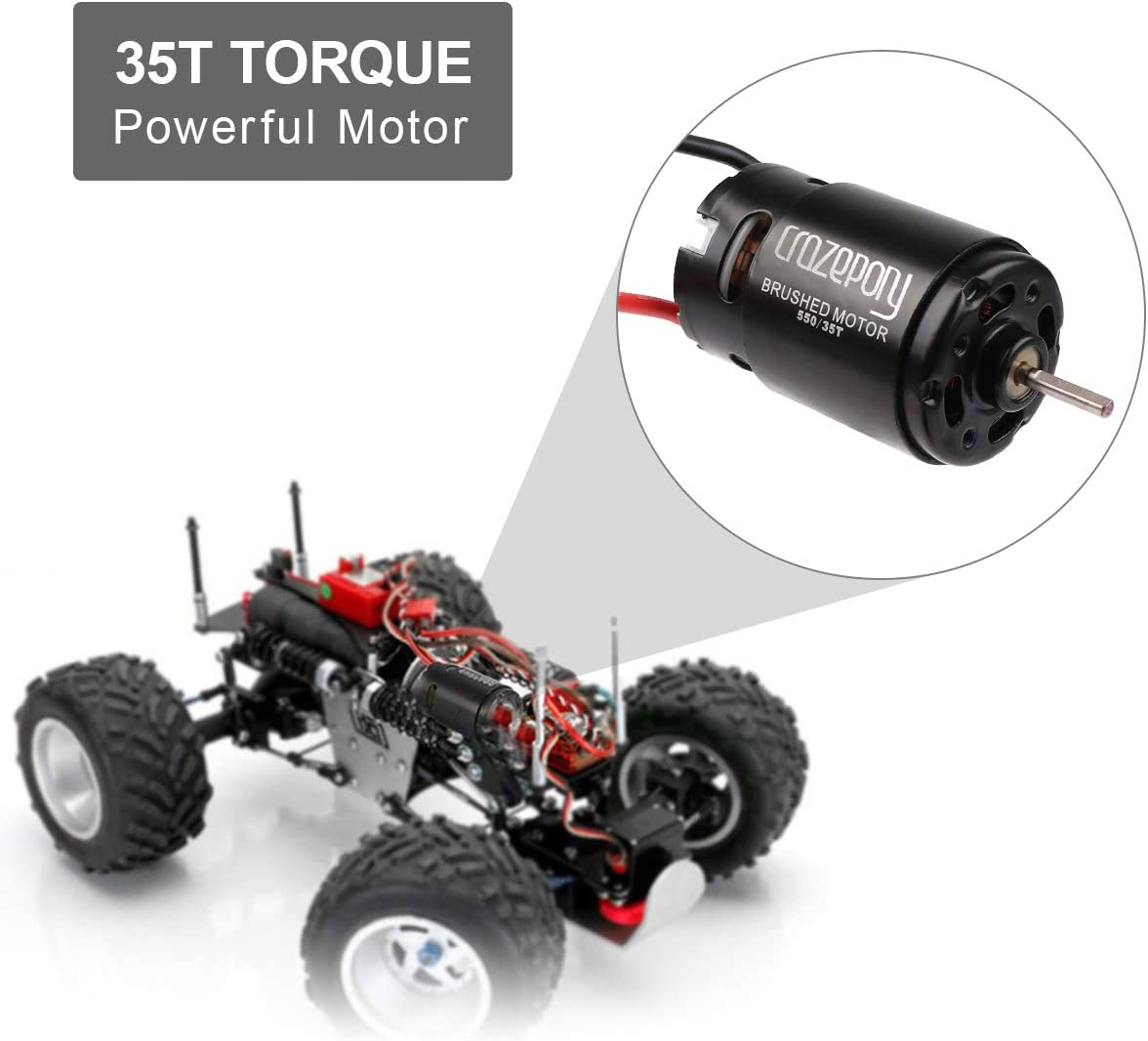 550 12T Brushed Motor 21000PRM 3.175mm Shaft for 1//10 RC Car HSP HPI Wltoys Kyosho Off-Road Rock Crawler Climbing RC Car 1S-2S Lipo Battery