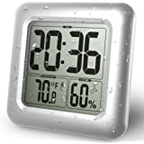 BALDR LCD Bath & Shower Clock, Waterproof Bathroom Clock, Wall Mounted, Suction Cups, Digital Displays Time, Temperature, and Indoor Relative Humidity
