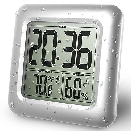 BALDR Digital Bathroom Waterproof Alarm Clock New Modern Design Shower Clock with LCD Time Display Temperature
