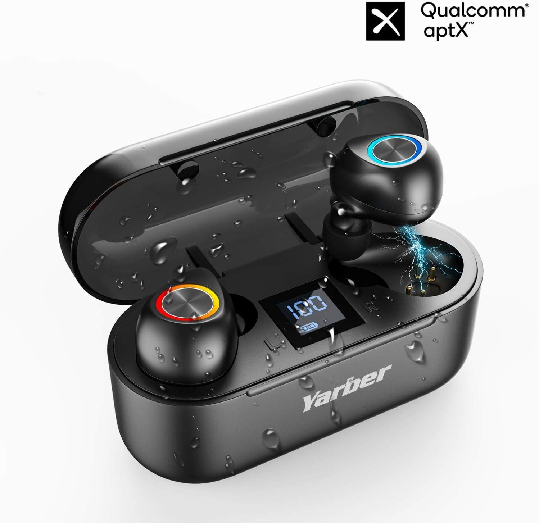 [Último Modelo 2020]Auriculares Bluetooth Intrauditivos, TWS CVC8.0 Estéreo Auriculares Inalámbricos Bluetooth IPX7 Impermeable Auriculares Bluetooth 5.0 con Mic Reducción de Ruido para iOS Android