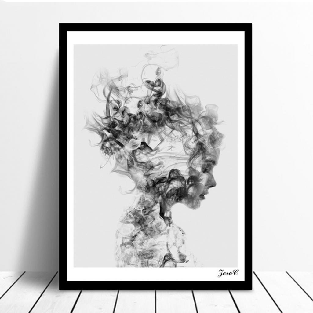 Amazon com modern nordic decor black white girl poster canvas painting wall art pictures without frame home kitchen