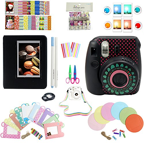 Elvam 11 in 1 Camera Accessory Bundles Set for Fujifilm Instax Mini 8 – Accessory Black (Camera Strap/Album/Film Frames/Stickers/Border Stickers/Lens/Filter/Owl Clip/Pens/Scissors)