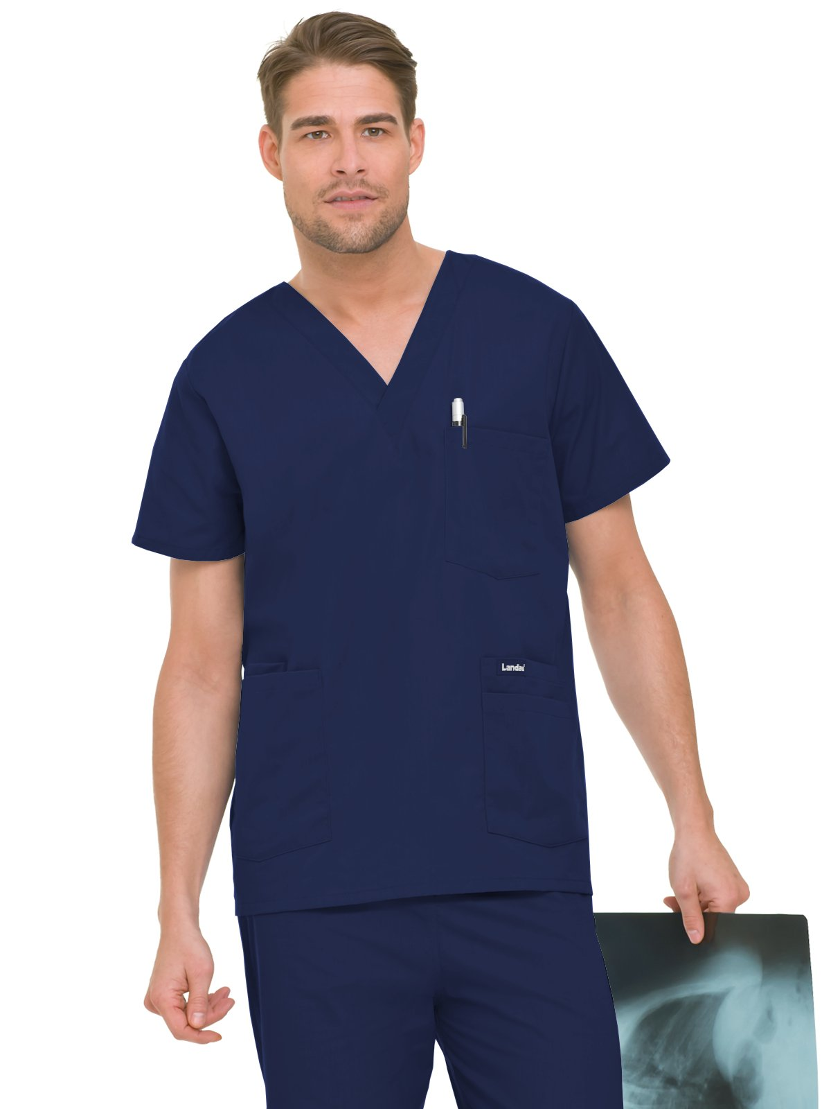 Landau Essentials Men's 5-Pocket Scrub Top Navy XLT by Landau