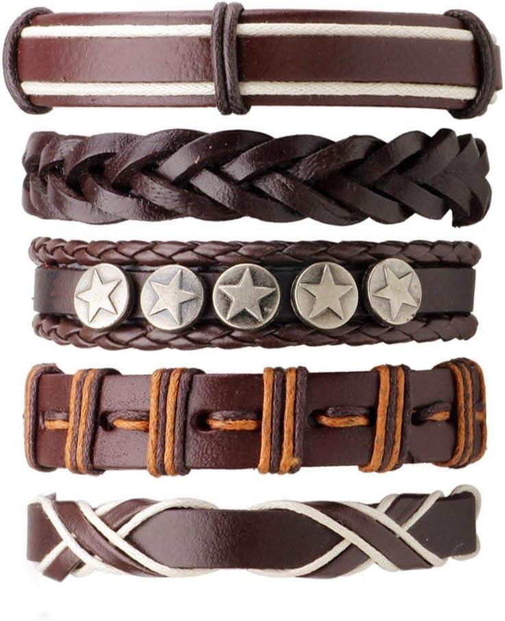 5pcs caf/é set hommes multicouches style punk d/écoration /étoile bracelet en cuir tress/é PU