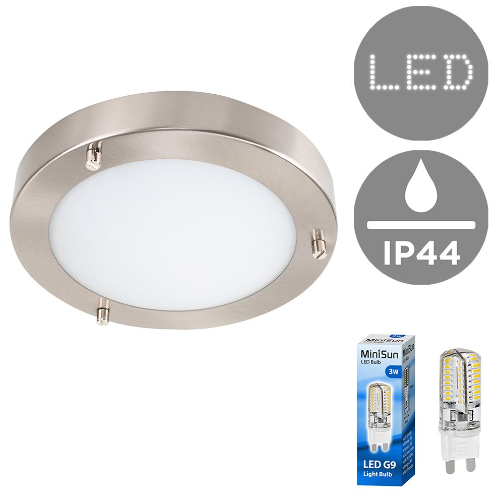 Modern Silver Chrome and Glass Flush Mini Bathroom Ceiling Light - IP44 Rated - Complete With 3w Energy Saving G9 LED Bulb