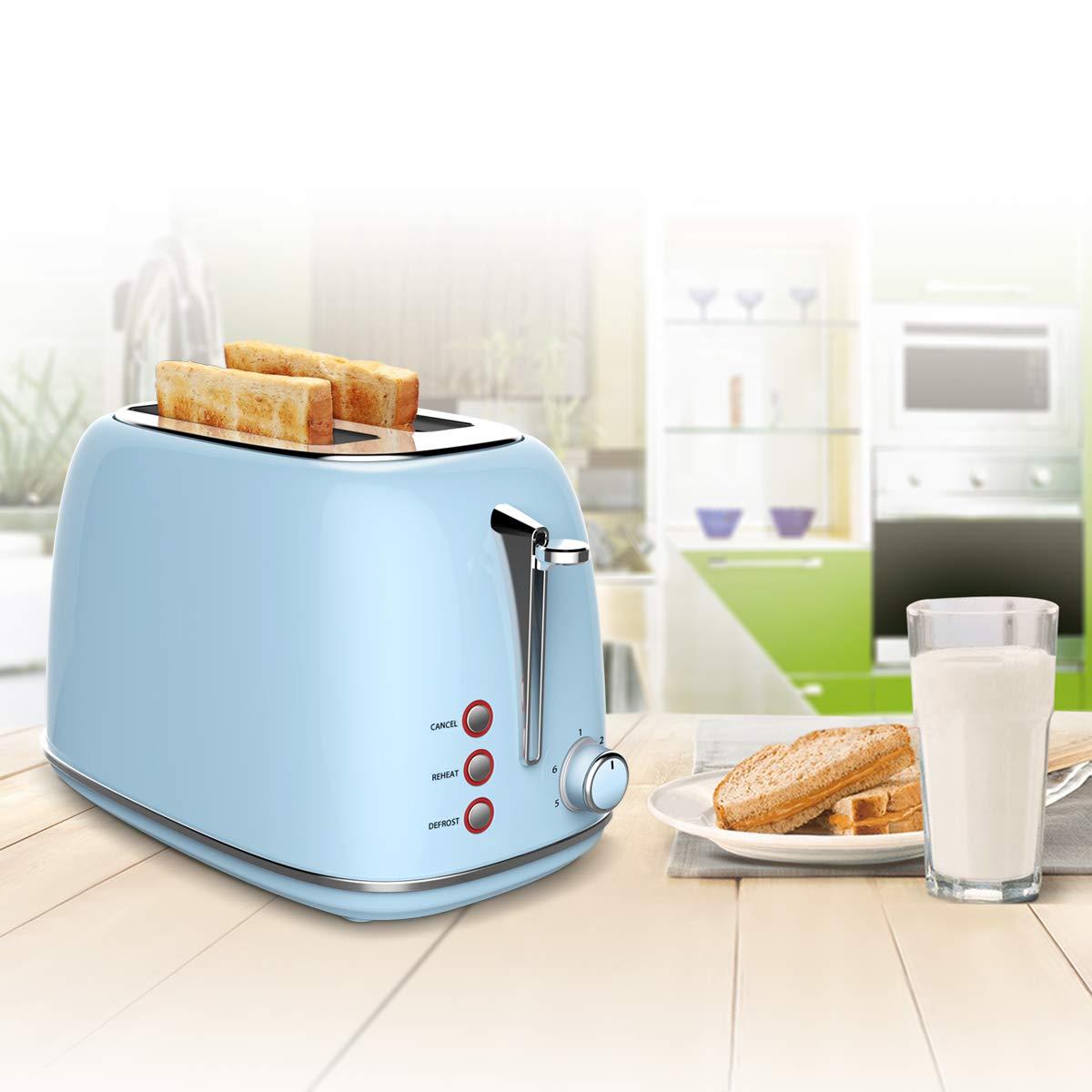 Toaster Grille-Pain 2 Fentes Acier Inoxydable,Morpilot 6 Niveaux Réglables,3 en 1 de Fonctions de Grille-pain,Décongeler,Réchauffer,815W Rapide Fonction