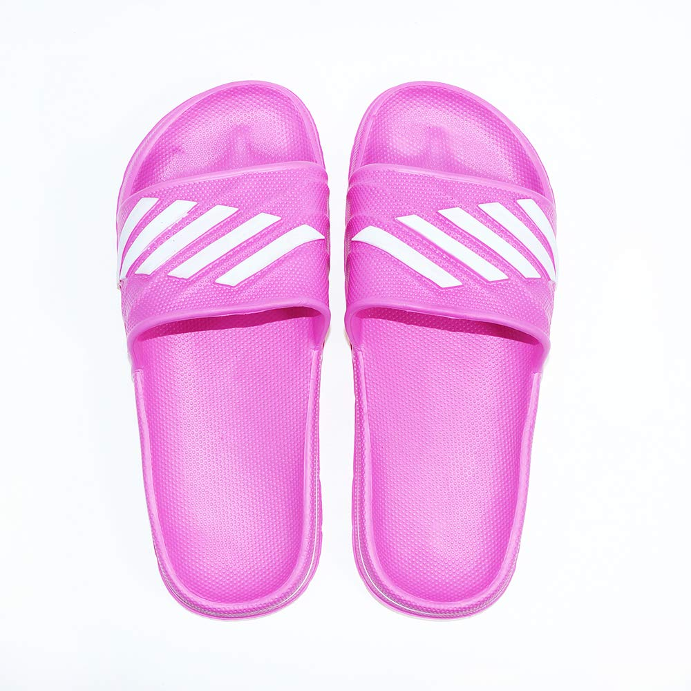 ZooYi Bathroom Shower Sandals Pool Slides Open Toe House Slippers Casual Lightweight Non-Slip Bath Shoes for Mens Womens Pink