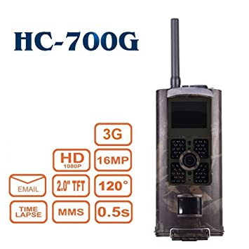 3G 16MP HD Cámara de Caza HC-700G 48 LED Negro desencadenar 0,5