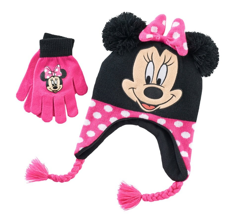 Girls Disney Pink Minnie Mouse Pom Pom Hat & Gloves Set