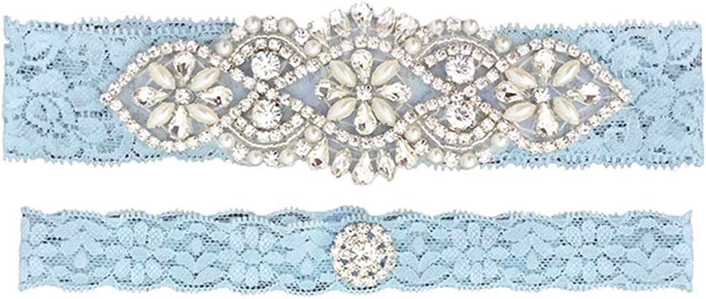 1 To Keep  1 To Throw Champagne Satin  Turquoise Lace 2 Piece Wedding Garter Set
