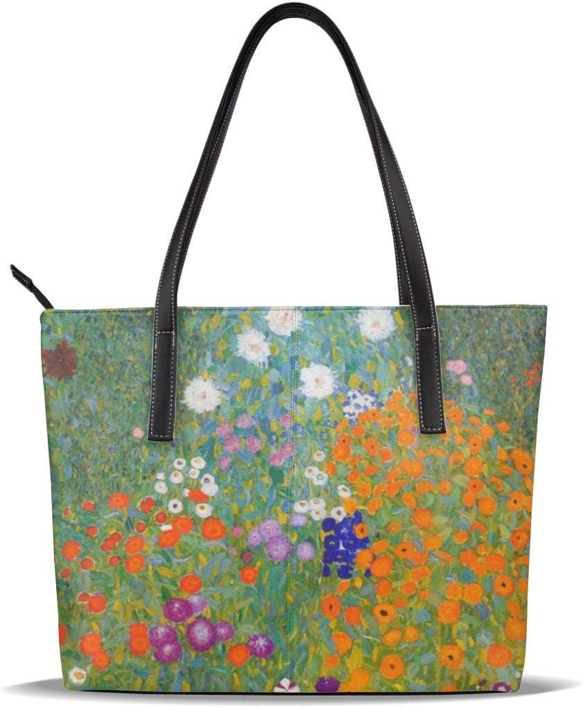 GHUJAOOHIJIO Cottage Garden Print Womens Handle Handbag Shouler Bags Leather Satchel Tote Bags